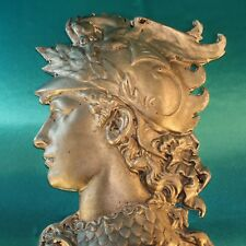 "Big Vintage 17"" Aluminum Sculpture Bust Winged Pegasus Helmet Athena Wall Decor"