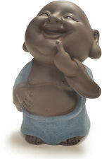 Tea Pet Decoration Laughing Buddha Standing with Blue Cloth Happy Clay Figurine