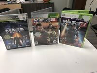 Mass Effect 1, 2 and 3 Microsoft Xbox 360 Lot of 3 Games