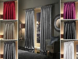 Extra Heavy Crushed Faux Velvet Soft Touch Pair of PENCIL PLEAT Lined Curtains