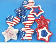 HOME MADE ICED PATRIOTIC HEART AND STAR SHAPED SUGAR COOKIES