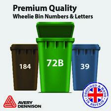 5 X Large Wheelie Bin Numbers & Letters