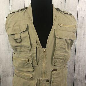 Woolrich Mens M Tan Fishing Hunting Vest Vented Multiple Pockets Khaki Full Zip