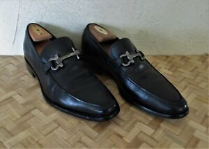 $650. authentic FERRAGAMOI Italy MENS SHOES Black LEATHER Loafers 9.5 US