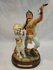"""Native Warrior Wolf Resin Figurine on Wood Base Montefiori Collection 9"""""""
