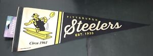 """Pittsburgh Steelers Throwback 12"""" x 30"""" Premium Pennant FREE SHIPPING"""