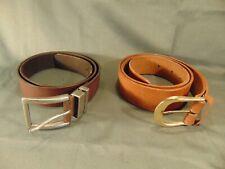 2 Unisex leather belts Lee & Levi's tan dark brown size 40 & 48 casual attire
