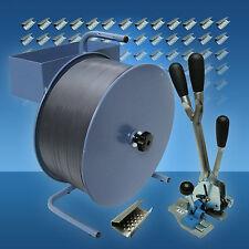 PP Umreifungsset 16 mm, Abrollgerät, Umreifungsgerät, PP-Band, 1000 Metallhülsen