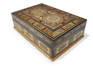 Schmuckkasten Holzschatulle  mit Perlmutt  Kunsthandwerk,abschließbar,Damaskunst