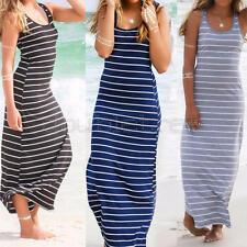 Damen Sommer Lang Streifen Kleid Maxikleid Abendkleid Strandkleid Bodycon Weste