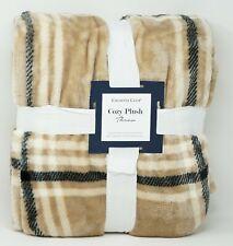 """Charter Club Cozy Plush Soft 50"""" x 70"""" Plaid Throw Blanket - Tan"""