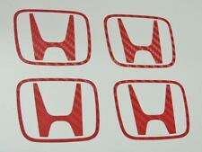 Honda 4 x Red Carbon H Centre Cap Stickers Decal Civic EP3 Type r K20 JDM OEM