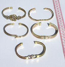 Lot 5 Yellow Metal Cuff Bracelets Ethnic Design Tribal Peruvian Costume Jewelry