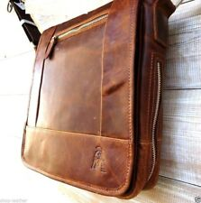 Genuine Leather men Shoulder Messenger BAG Satchel vintage Briefcase crossbody R