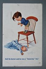 R&L Postcard: Comic, Inter Art 2023, Donald McGill, Boy Dropped Baby from Chair
