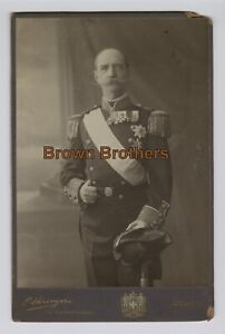 1890s King of Greece George I Military Uniform Assassinated 1913 Cabinet Photo