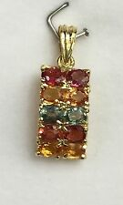 14k Solid Yellow Gold Two Rows Band Pendant, Natural Colors Sapphire 3TCW