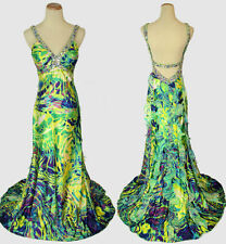 New Mult Floral $500 Sleeveless Long Prom Formal Size 2 Evening Gown Dress Poly