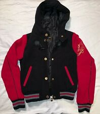 Baby Phat Black Red Gold Gray Varsity Women's  Hoodie Jacket Sz Small