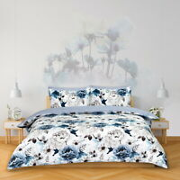 Sleepdown INKY FLORAL Polycotton Reversible Duvet Cover Set with Pillowcases