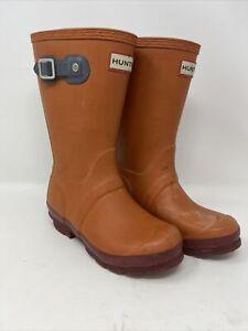HUNTER Original Kids Waterproof Rain BOOTS Contr- Orange SZ 1G/13B (UK 12, EU31)