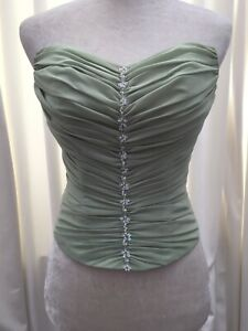 Ruched Bustier sweetheart corset top Size 4 chiffon ties sequin detail