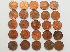 Coin - 25 pcs Singapore 1986-2001 Brunei Plant one 1 cent used coin  (#92)