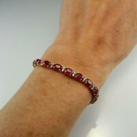 11ct Oval Cut Red Ruby Women Engagement Tennis Bracelet 14k Yellow Gold Over