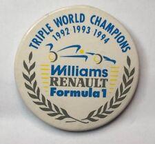 William Renault Formula 1 F1 Triple World Champions 1992-94 Badge 4.5 cm's