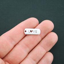 10 Love Charms Antique Silver Tone Tag Charm Heart Cutout - SC4508