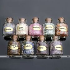 9 Mini Gemstone Bottles Chip Crystal Healing Tumbled Gem Reiki Wicca Stones Hot
