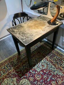 Antique Metal Desk Table And Chair Military Doctor Set Industrial  Peaky Blinder