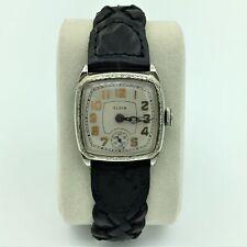1930 Elgin Deco 14K White Gold Filled Mens Wrist Watch 4/0s #32346666 Running