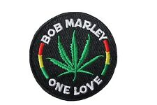 """BOB MARLEY - ONE LOVE..Embroidered Iron-On PATCH CREST BADGE..2.5"""" Inch In Diam."""