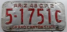 """Oldie Nummernschild USA aus Arizona """"GRAND CANYON STATE"""" von 1948. 13272."""