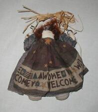 "MINI 8"" WELCOME RAG DOLL HANGER  Folk Art  Primitive  OOAK  Collector  SO SWEET!"