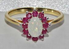 9ct Jaune Or & Argent Opale Naturelle & Rubis Femmes Serti bague taille Q