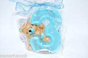 Baby Boy 3rd Third Birthday Candle Number Three #3 Cake Topper Blue Teddy Bear