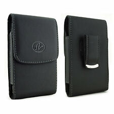 For Samsung Cell Phones Vertical Leather Holster fits w/ Thin Snap Case on