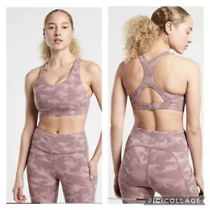 New! Athleta Ultimate Textured Bra D-DD Camo Smoked Almond Brown Small #657877