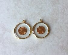 TWO COIN HOLDER BEZEL PENNY BEZELS TO MAKE PENDANT OR KEYCHAIN GOLD PLATED MOUNT