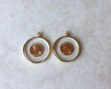 VINTAGE TWO PENNY PENDANTS LUCITE IN GOLD PLATED BEZEL COIN HOLDERS