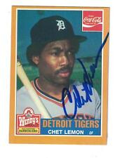 Chet Lemon AUTOGRAPH 1985 TIGER WENDY'S BASEBALL CARD SIGNED