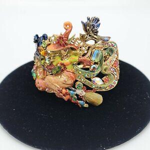 Kirks Folly Bracelet Halloween Witch Cat Pumpkin Rhinestone Crystal Jewelry WOW