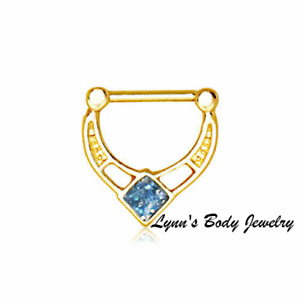Blue Glitter Epoxy Rhombus Gold Plated Stainless Steel 16g Septum Nose Clicker