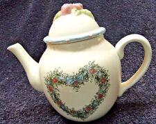 Mary Hughes Teapot Lid Enesco Celebrate Home White Heart
