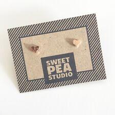 Brushed Rose Gold Small Heart SweetPea Studio Stud Earrings - Jewellery Gift
