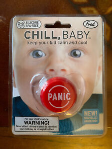 Fred & Friends Chill Baby Panic Button Pacifier, BPA Free, BNIP