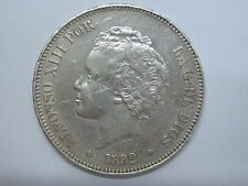 1892 *18-92 PGM ALFONSO XIII 5 PESETAS BUCLES SPAIN SPANISH