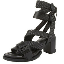 Alexander Wang Christy Braided Low Heel Sandal Black 36 Pumps Chunky Ankle Strap
